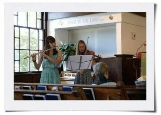 Sunday Worship - Sharon on the flute and Bethany on the violin